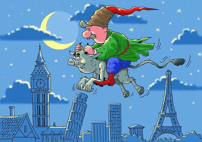 Украина. Обстановка в стране под пристальным и ироничным взглядом Виктора Трегубова. Вакула на чёрте летит в Европу.