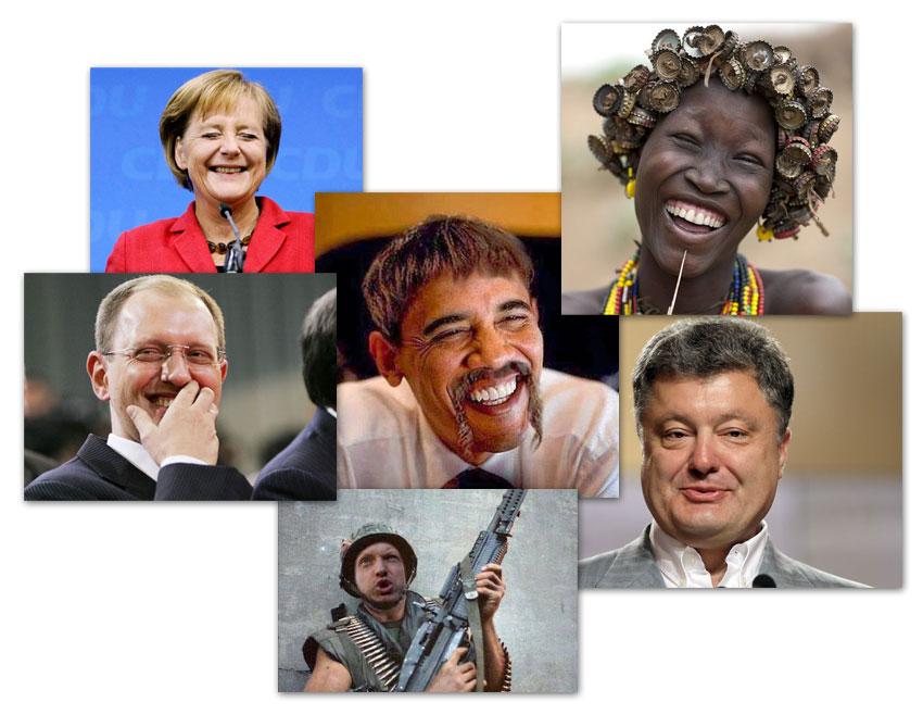 Новогоднее обращение 2015. Обама, Меркель, Порошенко, Яценюк, Турчинов, африканка ржут и не могут.